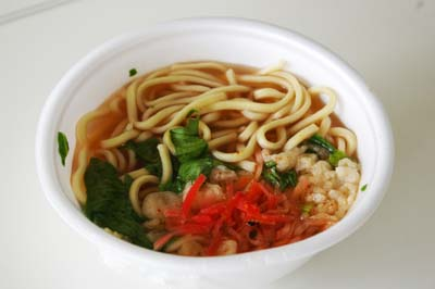 ¥100 soba is a popular side dish with a bento or a quick 'snack.'