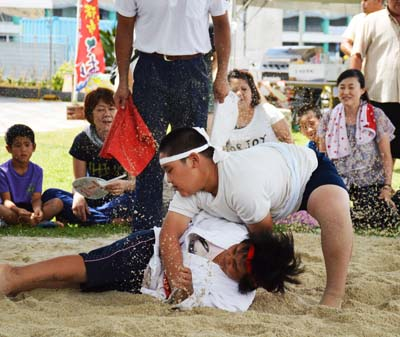 Okinawan Sumo tournaments for both kids and adults are held Sunday.