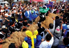 Itoman Tug-of-War rice-straw rope is 180 meters long and weighs 10 tons.