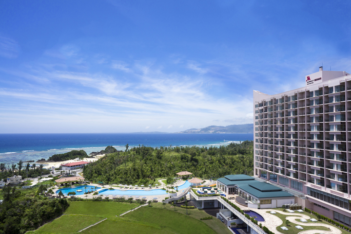 Okinawa Marriott Hotel stands on a hill offering a magnificent view over Nago Bay.