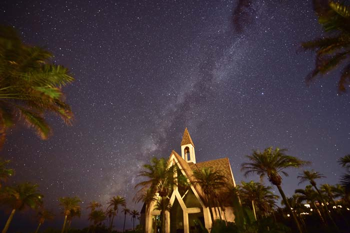 The resort's wedding chapel at night under billions of stars in Miyako's unpolluted sky.