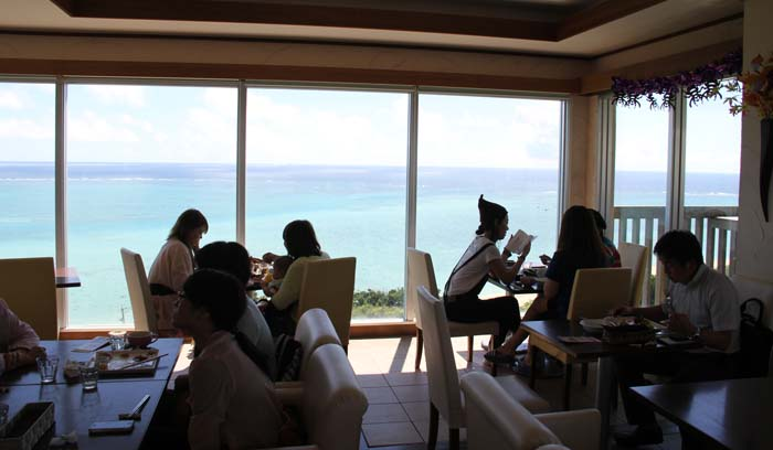 Cafe Yabuhachi in Nanjo offers one of the best views of Pacific Ocean on the island.
