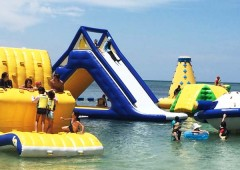 A US. PARK floating water park at Kariyushi Beach Resort in Onna.