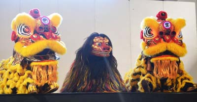Masks of the Chinese 'Lion Dance' are quite different from Okinawan Shishimai.