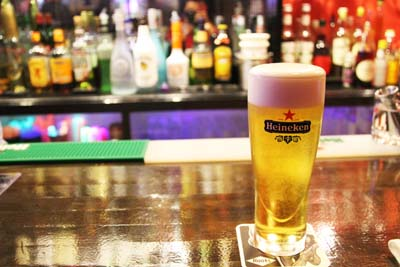 Roots is the only bar on Okinawa that serves Heineken beer on tap.