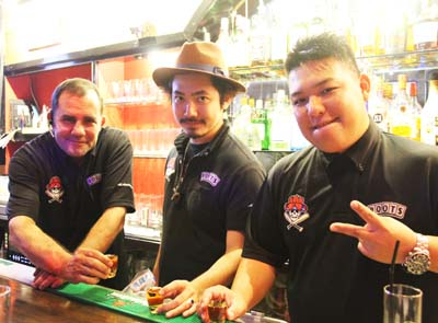 Roots staff (from left) Fester DX, To-Ki and owner Ta-Ka Kinjo.