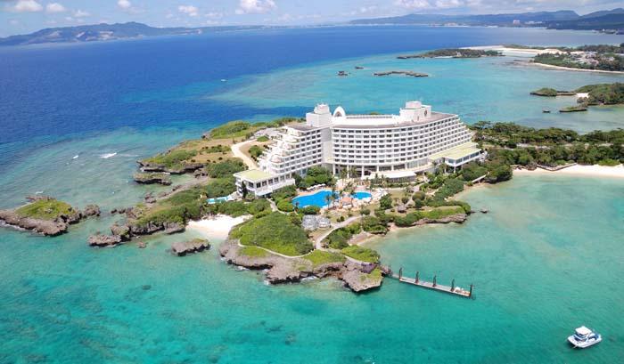 ANA Intercontinental Manza Beach Resort is located on a narrow peninsula.