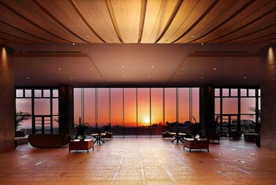 The lobby lounge offers breathtaking views of sunsets through its huge windows.