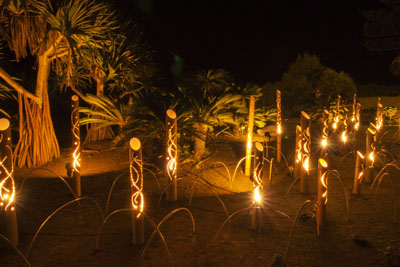 The paths on the resort property are romantically illuminated for evening walks.