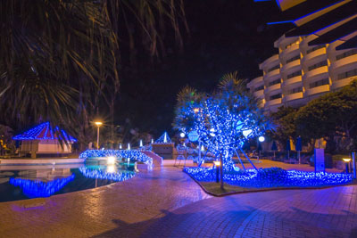 Almost every hotel and resort on Okinawa decorate their premises with LED lights for the year-end season like ANA Intercontinental Manza Beach Resort in Onna Village above.