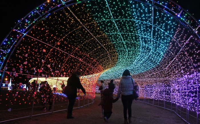 100-meter long 'Tunnel of Light' leads to the festival grounds.