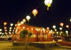 Chinese style lanterns will lit Yomitan Murasaki Mura through Feb. 21st, 2016.