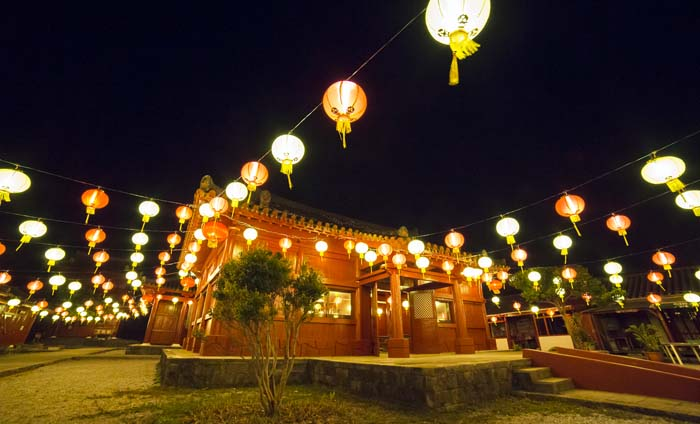 Chinese style lanterns will lit Yomitan Murasaki Mura through Feb. 21st, 2016.