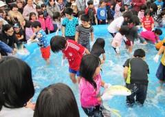 Children enjoy bare-hand fish catching contest.