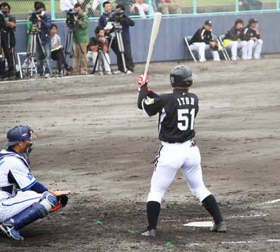Hanshin Tigers' Hayata Itoh prepares to take a swing.