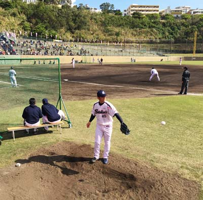 Yakult Swallows train at Urasoe sports park.