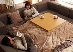 Kotatsu is often the winter-time centerpiece of a home with the whole family sitting around it legs comfortably in the warm and hot tea on the tabletop.