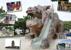 Shisa on Okinawa comes in all sizes and forms, and is everywhere where protection is needed, like this children's slide in a park in Ginowan.