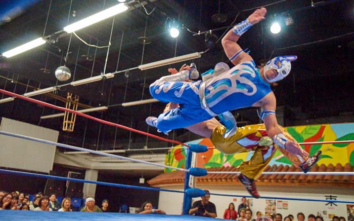 Speed and stunts galore are the trademarks of the Ryukyu Dragon pro-wresling shows.