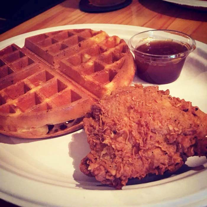 Chicken and waffles, just dig in and enjoy.