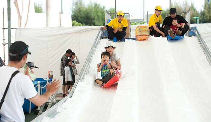 No matter how warm the weather, there's real snow to play with at Chatan Dome.