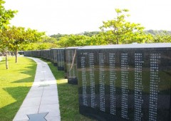 Cornerstone of Peace monument in Mabuni has names of all known war dead from the Battle of Okinawa carved on it regardless of nationality. new names are added as they become known.