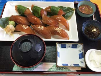 Uomaru's sushi lunch.