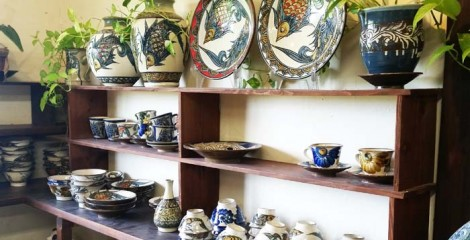 Fish and shrimp motifs are the trademark of Kinjo Ichimon pottery.