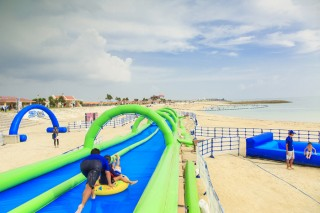 Anyone over 3 years of age can enjoy the 50-meter-long slow slide.