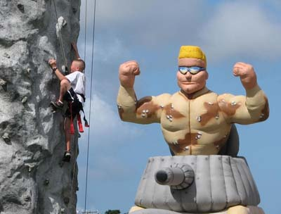 The rock climbing wall has been one of the most popular challenges in all MCCS festivals.