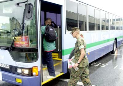 The buses provide a free and safe transportation between Marine bases.