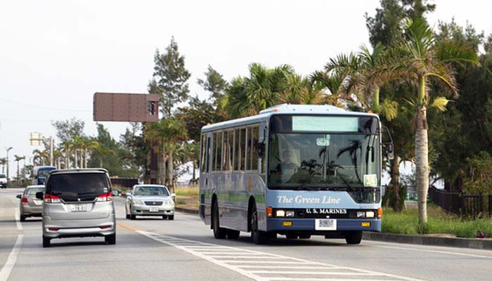 Green Line buses are a familiar sight on Okinawa's roads.