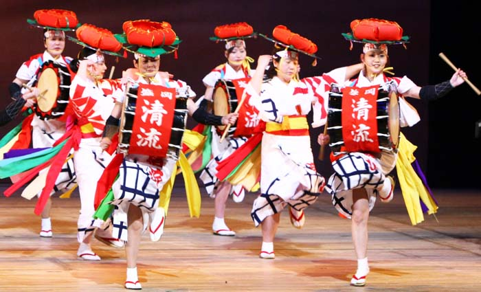 Morioka Sansa Dance Group shows folk dance from mainland Japan.