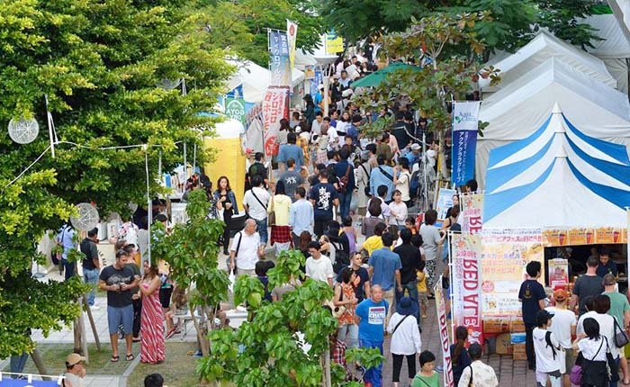 Saion Square at the northern end of Kokusai Street becomes an open air tavern for the 4th Haisai Champuru Beer Festival.