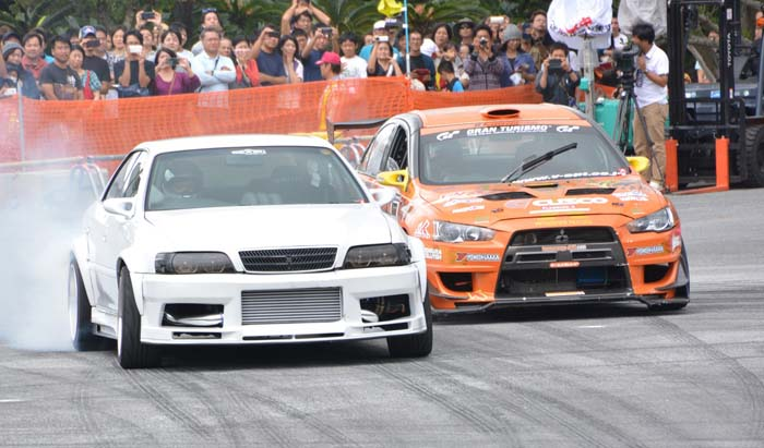 Drift drivers demonstrate their skills at Koza Motor Sports Festival.
