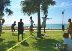 Anyone can try slacklining this Sunday at the park at Araha beach for free.