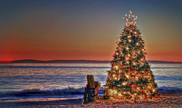 No one can say that Christmas can't come to a beach.