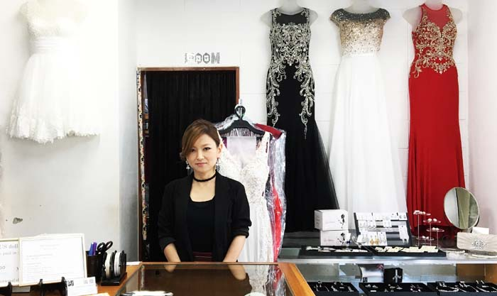 aj owner Minae Tawata has run her successful party dress business for 9 years.