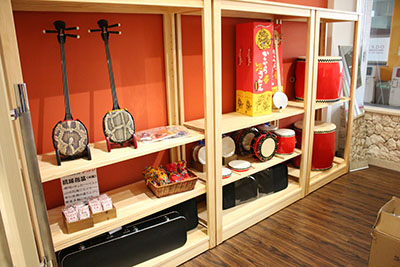 The museum's collection of Eisa-related instruments.